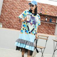 Thai street fashion cartoon chic cat print T shirt female long section loose ruffled mesh gauze stitching dress