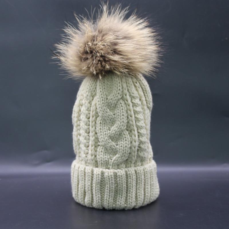 2019 New Winter Beanie Cap Frauen Echt Waschbär Pelz Pompon Hut Dick - Bekleidungszubehör - Foto 3