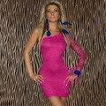 Desgaste do clube da moda plus size mulheres marca vestido rose red one ombro manga comprida mini lace vestidos para baile de formatura, vestido de casamento, festa M-XXL