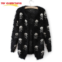 Try Everything Black Faux Fur Womens Skull Cardigan Korean Autumn Cashmere Sweater Female Long Sleeve Clothing