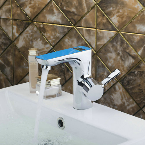Best Single Handle Blue Digital Display Bathroom Chrome Brass Deck Mount 97121 Sink Wash Basin Torneira Vessel Tap Mixer Faucet 8471 4 single handle cold stream deck mount single handles wash basin sink vessel kitchen torneira cozinha tap mixer faucet