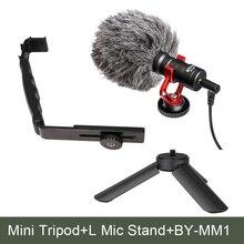 Ulanzi L Bracket+Mini Tripod+Boya Microphone Kit for Zhiyun zhi yun Smooth Q Feiyu Gimbal DJI OSMO on Gopro Hero Smartphone