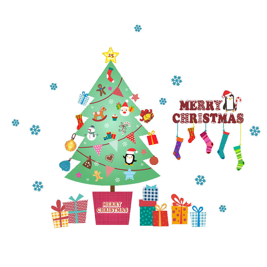 Top sale xmas tree wall stickers 2018 happy new year merry it is waterproof and removable sticker amipublicfo Choice Image