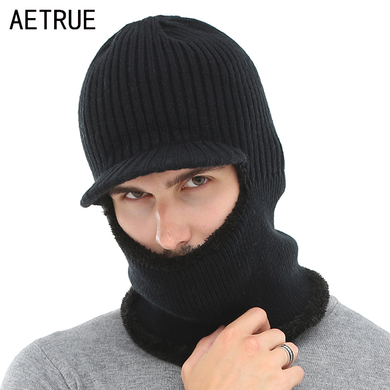 AETRUE Knitted Hat Men Women Winter Hat Mask Balaclava Scarf Skullies Beanies For Men Warm Soft Fur Wool Bonnet Cap Hats 2018
