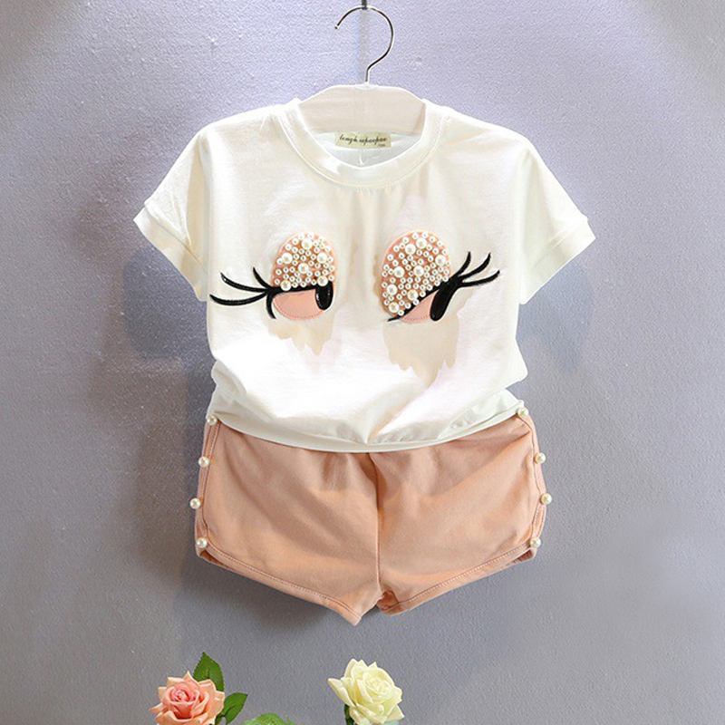 Free shipping 2016 summer baby girl clothes new fashion baby clothing eyebrow cartoon lovely suit short