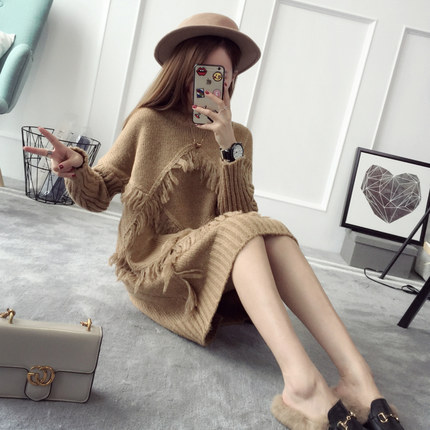 Autumn and Winter New Hedging Sweater Long-sleeved Tassels Long Section Loose Korean Knitted Sweater Dress AXD1916
