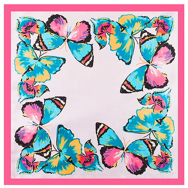 60cm*60cm 2017 High Quality Spring New Arrival Butterfly Elegant Woman Silk Scarf Gift For Lady Small Square Scarf