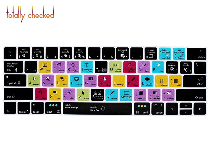 For Adobe Indesign Silicone Keyboard Cover Skin For Macbook Pro Touch Bar 13 15