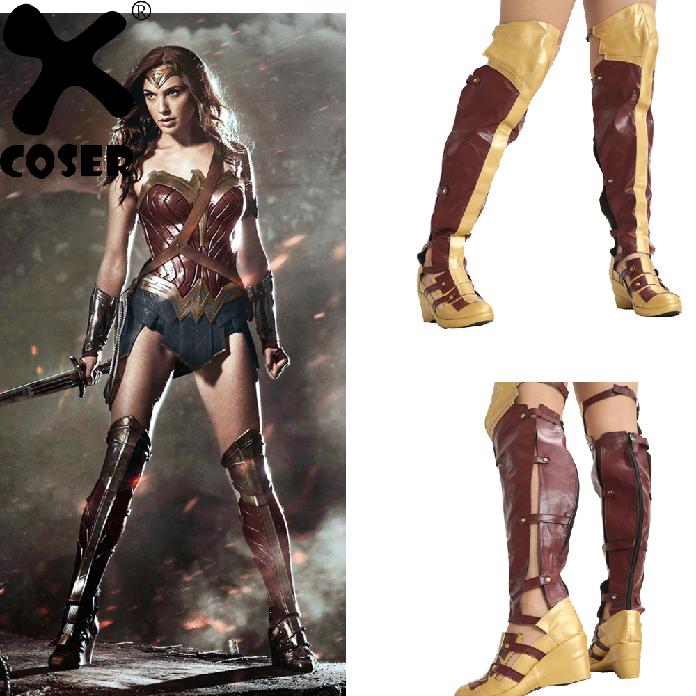 XCOSER Wonder Woman Boots Cosplay Props Costume Shoes Women Top Quality PU Faux Leather Long Boots Movie Cosplay Accessories
