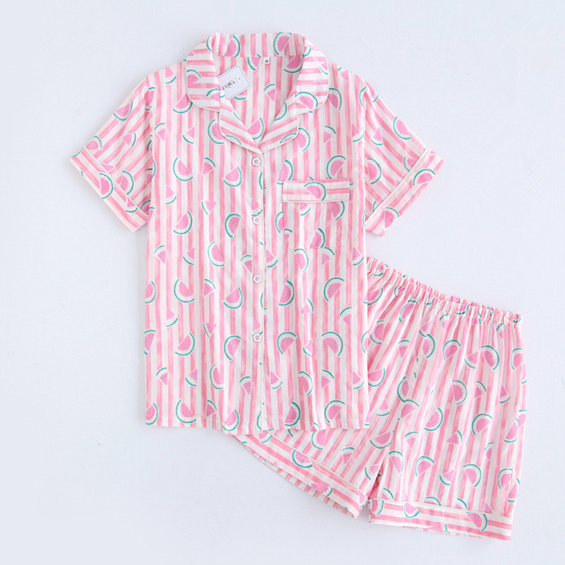 KISBINI 2018 Summer Wiomen   Pajamas     Sets   Cute Pink Blue Watermelon Stripes Cotton Short Sleeves+pants Nightgown Homewear 1Set