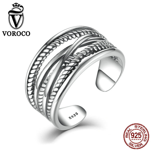 VOROCO New Hot Sale 925 Sterling Silver Ring Luxury Brand Cross ...