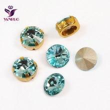 YANRUO 1122 Rivoli Fancy Stones Aquamarine Glass Beads With Claw Setting