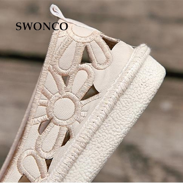 SWONCO Women's Flats Shoe Embroidery Fisherman Female Shoe 2018 Spring Summer Women Shoes Cut Out Hollow Out Casual Shoes 2