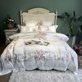 800TC Ägyptischer Baumwolle Luxus Stickerei Weiß Bettwäsche Set Königin König größe Bett abdeckung Duvet Abdeckung bettlaken set parure de lit