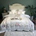 800TC algodón egipcio de lujo bordado de ropa de cama blanca juego de cama de tamaño Queen King funda de edredón juego de sábanas parure de lit