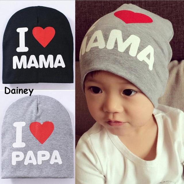 Nouveau Bébé Garçons Chapeaux J aime MAMA PAPA Enfants Nouveau-Né Coton  Beanie Fille 4174090d17d