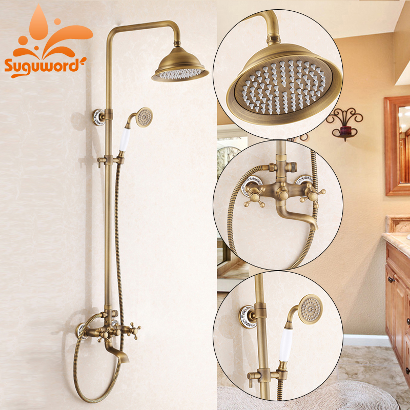 Antique Brass 8-inch Rain Shower Faucet Set Tub Mixer Tap antique brass 8 rain shower faucet set double corss handles tub mixer hand unit