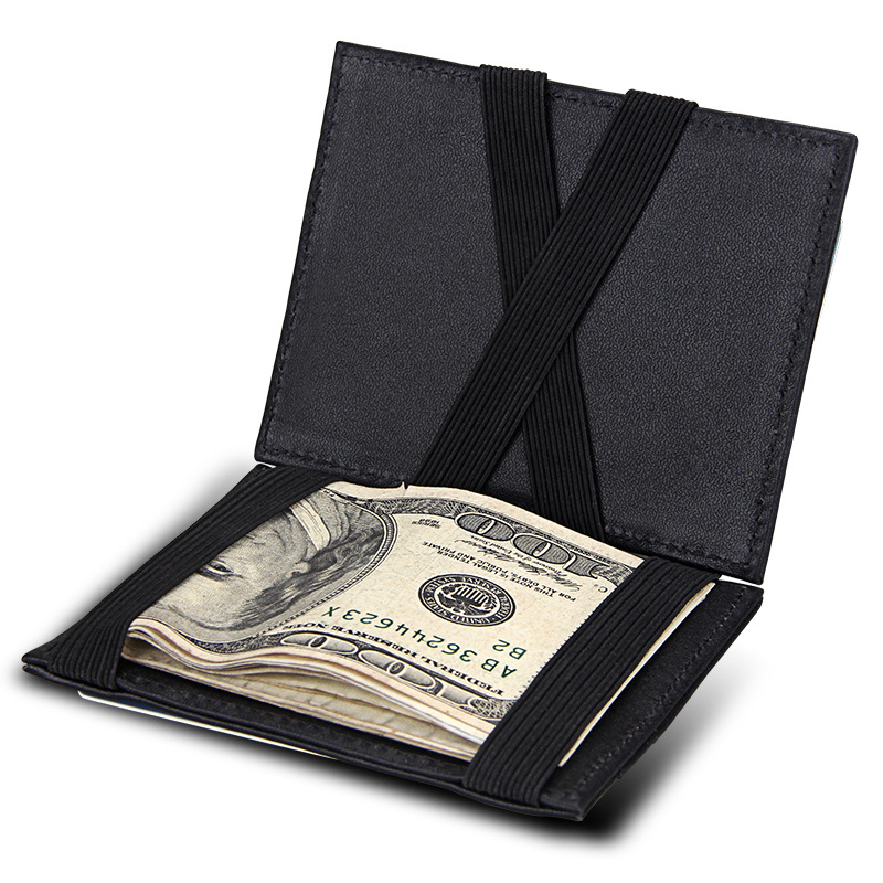 Hot Sale Genuine Leather Mens Magic Wallet Double Open Bandage Banknote Clip with Card Holder Cow Leather Money Purse