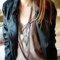 Vintage Bohemian Necklace Leaves Multi-layer Alloy Bohemia Long Necklace Silver Gold Pendant Chain Fashion Jewelry