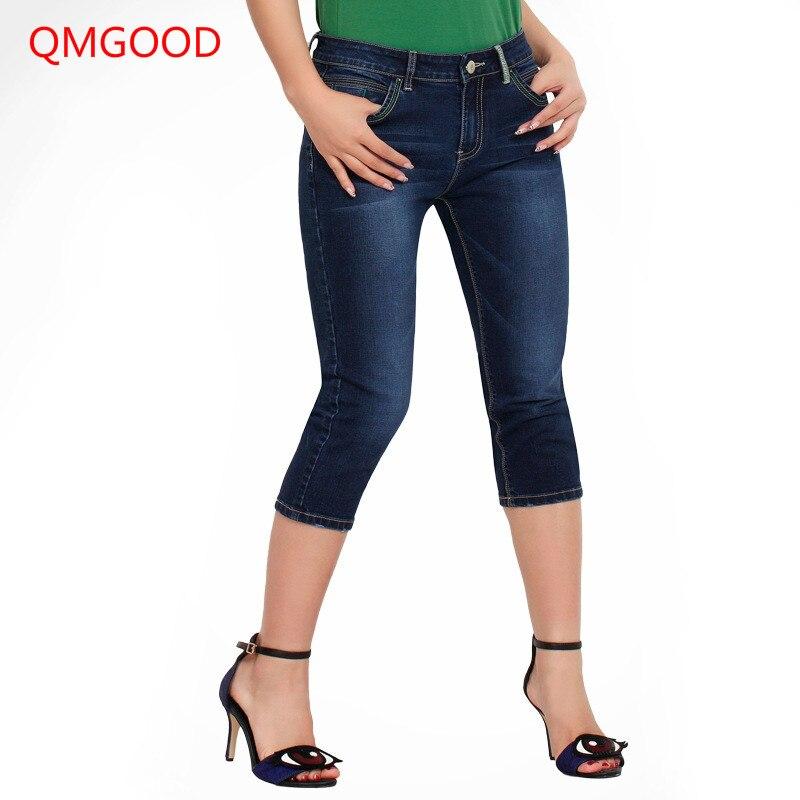 QMGOOD Fashion Female Brand   Jeans   3/4 Length Plus Size Elastic Denim Pants Casual Women Summer   Jeans   2017 New Pencil Slim   Jeans