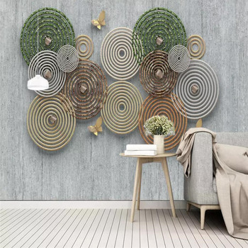 цена на 3d abstract circle decoration mediterranean TV background wall professional custom mural wholesale wallpaper poster photo wall