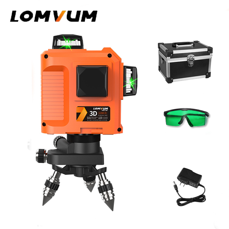 LOMVUM Laser Level 3D 12line 360 Rotary Green Laser Leveling Red Horizontal Vertical Cross Line Outdoor Laser Level With Base