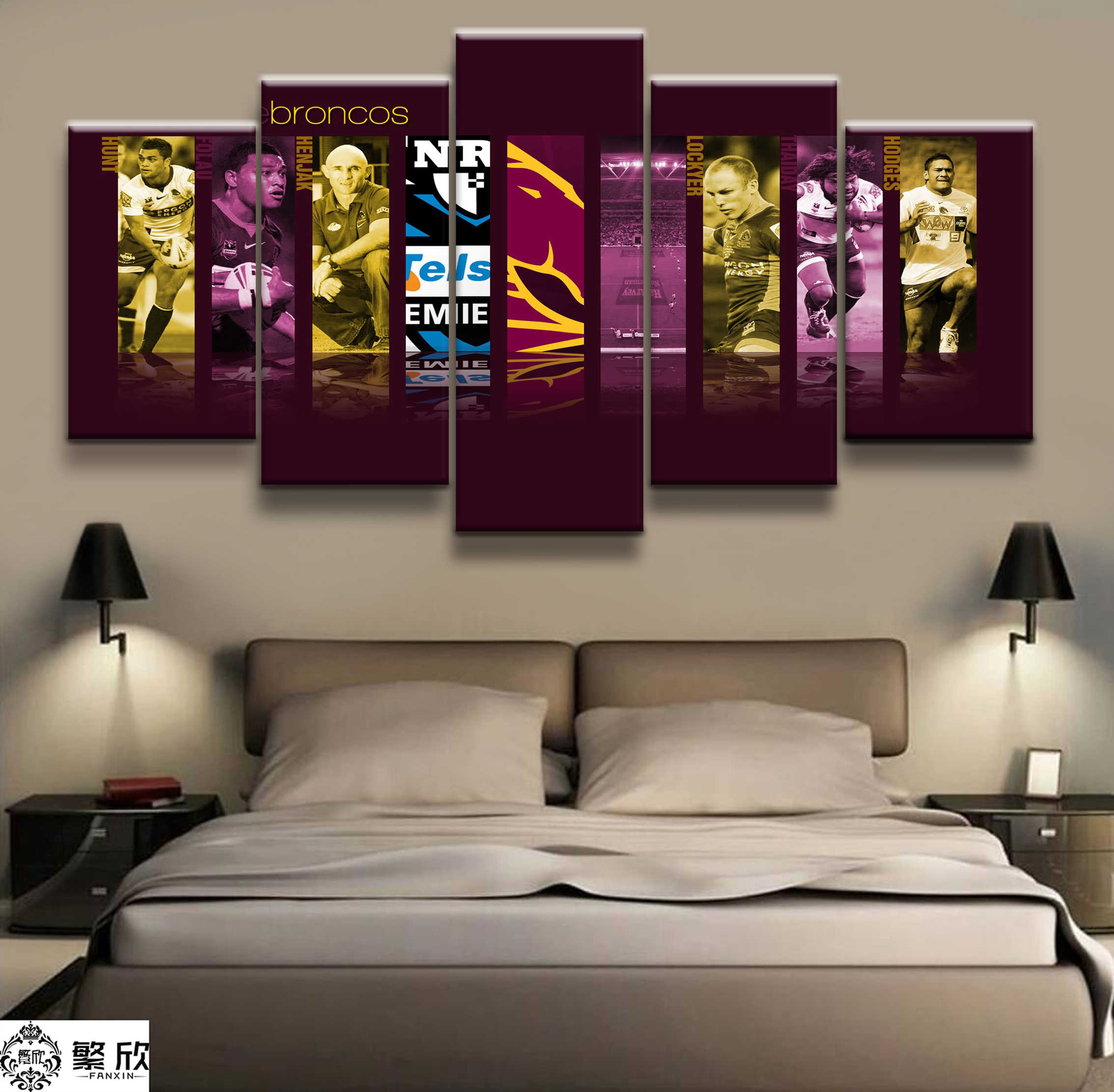5 Panel NRMA brisbane broncos4 Rugby League Poster Printed Painting For Living Room Wall Art Decor Picture Artworks Poster