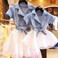 Мать и дочь Платье 2016 мама и я платья Мода джинсовая сетки лоскутная принцесса одежды Девушки и женщины партия одежда