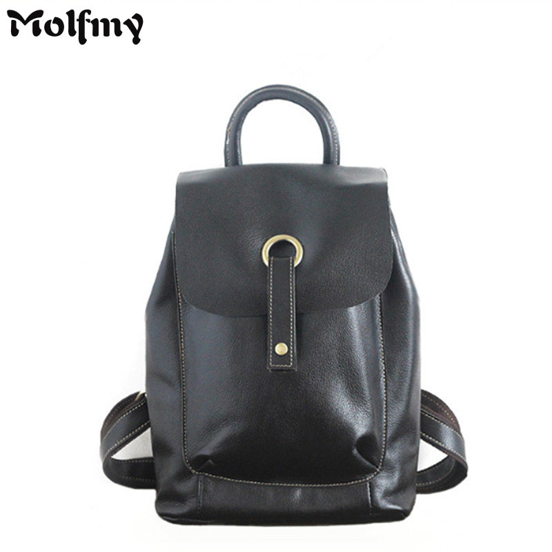 Vintage Casual Designer Genuine Leather Female Travel Backpack Real Cowhide Women Drawstring Bag Retro Backpack Back Pack kajie famous brand designer backpack for women 2018 retro genuine leather female back pack oil wax cow leather ladies travel bag