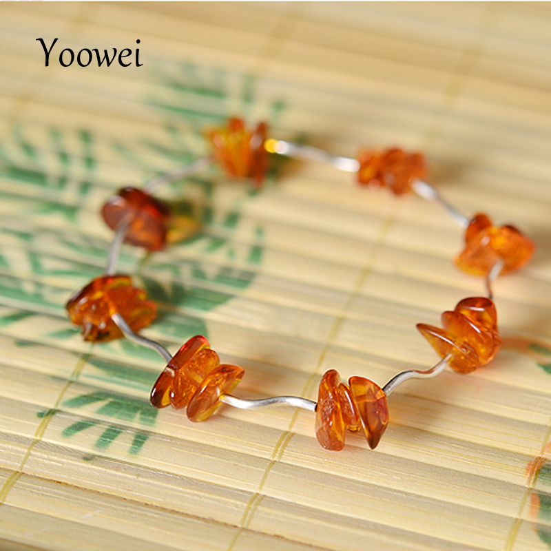 Yoowei Natural Amber Bracelet Irregular Cognac Beads Elastic Rope Female Models Unique Silver Tube Baltic Amber Jewelry Boutique