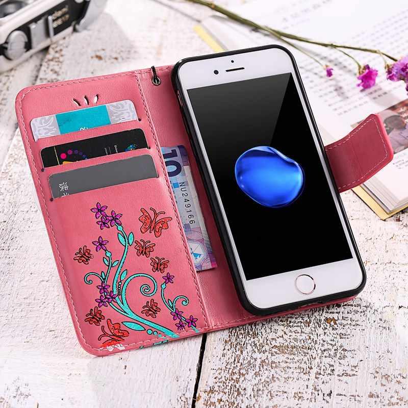 Кожаный чехол-книжка YiKELO с принтом бабочки и цветов, мягкий чехол для сотового телефона, чехол для Apple iPhone 5 5S SE 6 6s 7 Plus 7plus