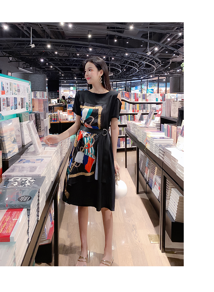 Fashion Summer Women Casual Dress High Street Print Belt Short Sleeve Loose Dress Sexy Off Shoulder Patchwork Hit Color Dress 12