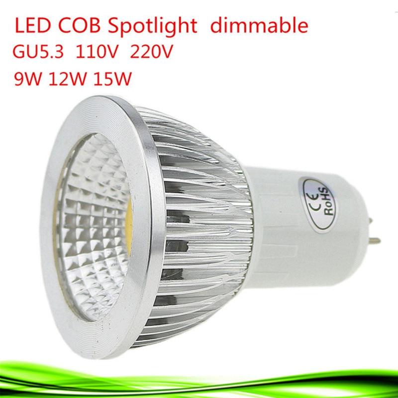 New High Power Lampada Led GU5.3 COB 9w 12w 15w Dimmable Led Cob Spotlight Cool White Bulb Lamp GU 5.3 110v 220v MR16 12v