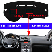 Couverture de tableau de bord de voiture, sans HUD, tapis de tableau de bord pour Peugeot 3008, 2013, 2014, 2015, 2016, 2017, 2018