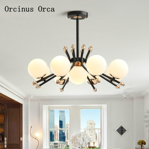 Postmodern creative personality magic beans chandelier living room dining room bedroom simple Nordic LED glass ball Chandelier|Pendant Lights| |  - title=