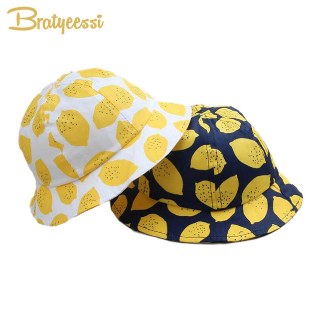 9c27c90132e New Lemon Print Bucket Hat Kids Cotton Baby Sun Hat Summer Children Boys  Girls Cap for