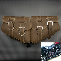 1 Pair Retro brown Faux Leather Saddlebags Saddle Luggage Tool Side Bag For Harley Sportster XL 883 1200 Motorcycle