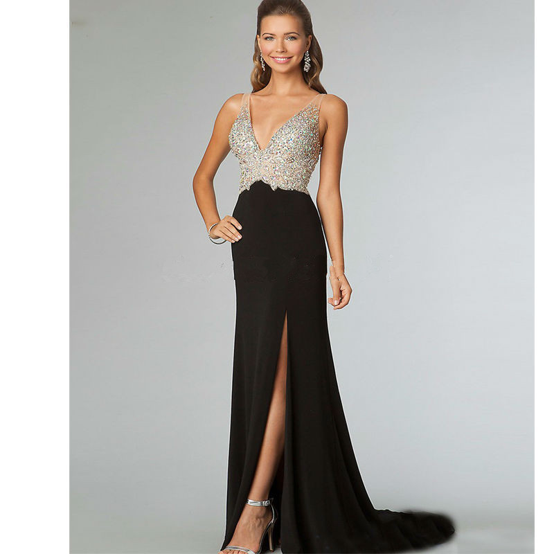 2018 Mermaid Formal prom Gown V Neck Backless Crystal Beading Black Long Chiffon Robe de soiree Abendkleider   bridesmaid     dresses