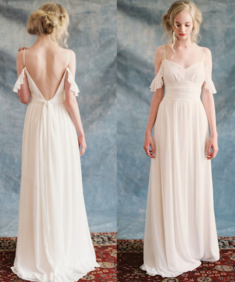 Elegant boho beach wedding dress 2017 chiffon long white for Elegant wedding dresses 2017