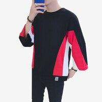 Long Sleeved Loose t Shirts Men Korean Casual Fashion Men 2018 t Shirt Hip Hop Street Camiseta Masculino Tops T6010