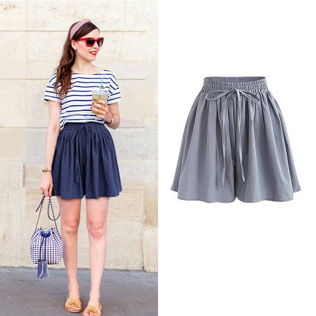 Summer Women Shorts High Waist Loose Chiffon Shorts Female Slacks Large Size Shorts 8001 2