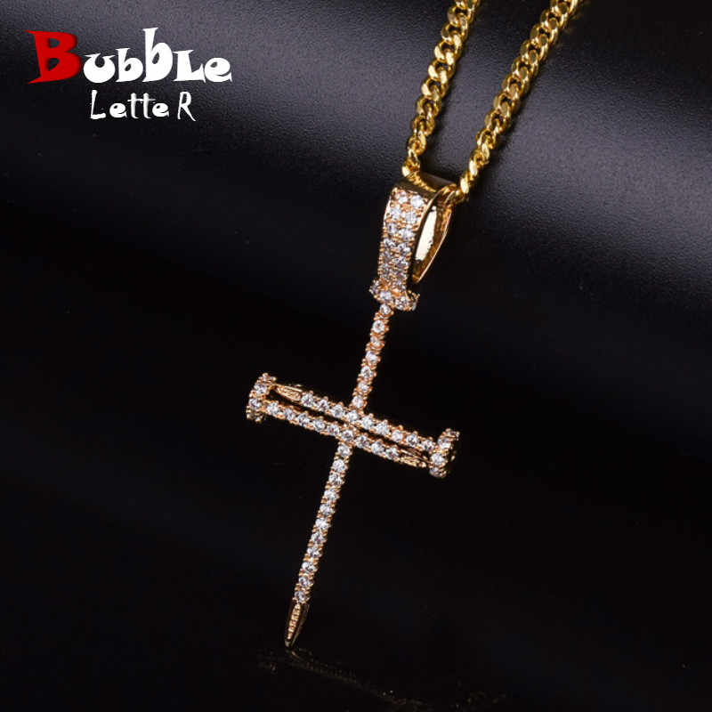 Gold Zircon Nail Cross Pendant Gold Silver Copper Material Iced Cross CZ Pendants Necklace Chain Fashion Hip Hop Jewelry