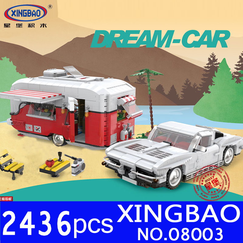 2017 XingBao 08003 2436Pcs Creative Series The MOC Camper Set Educational Building Blocks Bricks for Children Toys Model Gifts wange louvre of paris building blocks set model small architecture series 2017 classic educational toys for children gifts