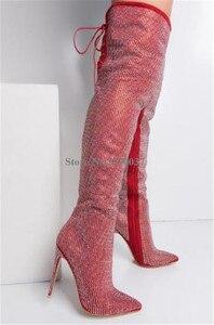 Image 5 - Женские ботфорты с острым носком, на тонком каблуке, украшенные стразами