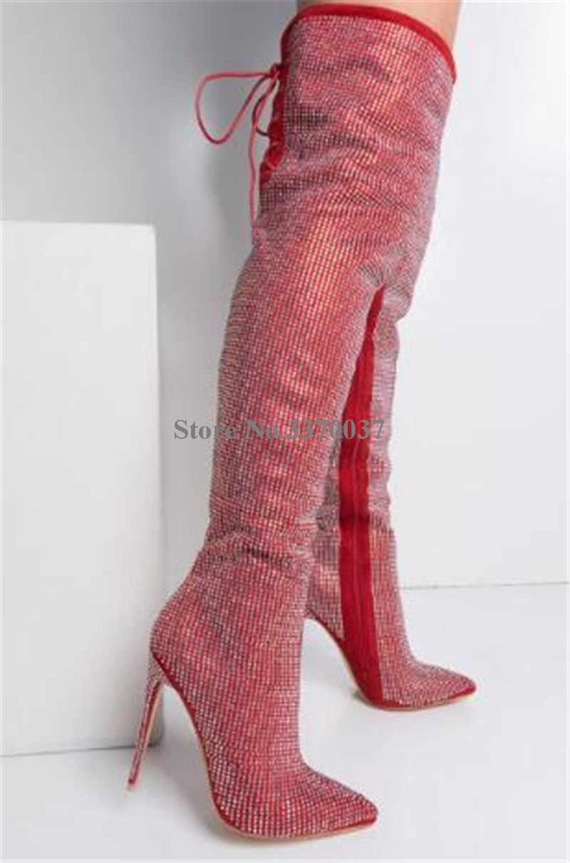 Femmes luxueux strass bout pointu sur le genou talon mince bottes Bling Bling cristal mince talon haut bottes longues chaussures de mariage