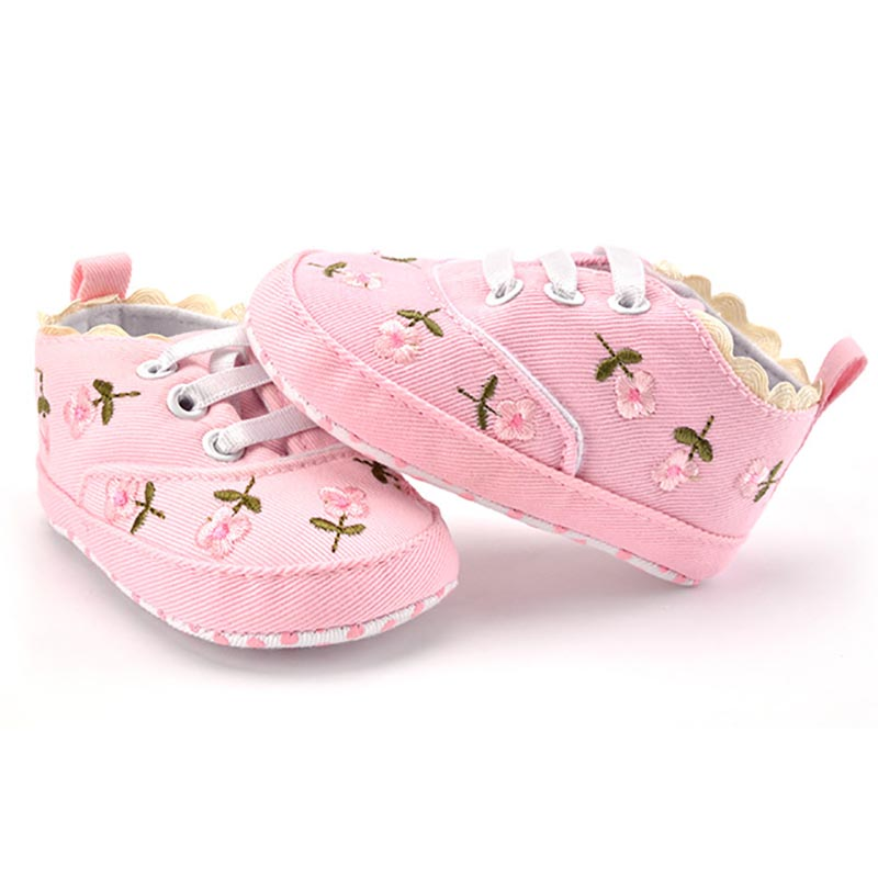 Baby Girl White Lace Floral Embroidered Soft Pre-walker Toddler Kids Shoes 4