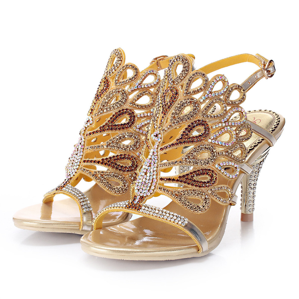 Genuine Leather Fashion and Sexy Rhinestone Wedding and Party Evening Dress Sandals big size 35-44, 2017 New Women Sandals Shoes many stars sexy women wedding evening lace dress