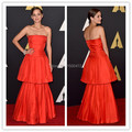 Marion Cotillard Inspired 2017 Celebrity Dresses strapless Tiered red Satin Runway Evening Gowns with Strapless NecklineCE156