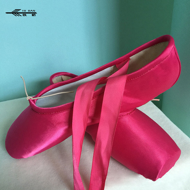 Ballet Professional Satin Pointe Ribbon Ties Shoes RED/ROSY/PURPLE/GREEN/BLUE /Red Dance Shoes