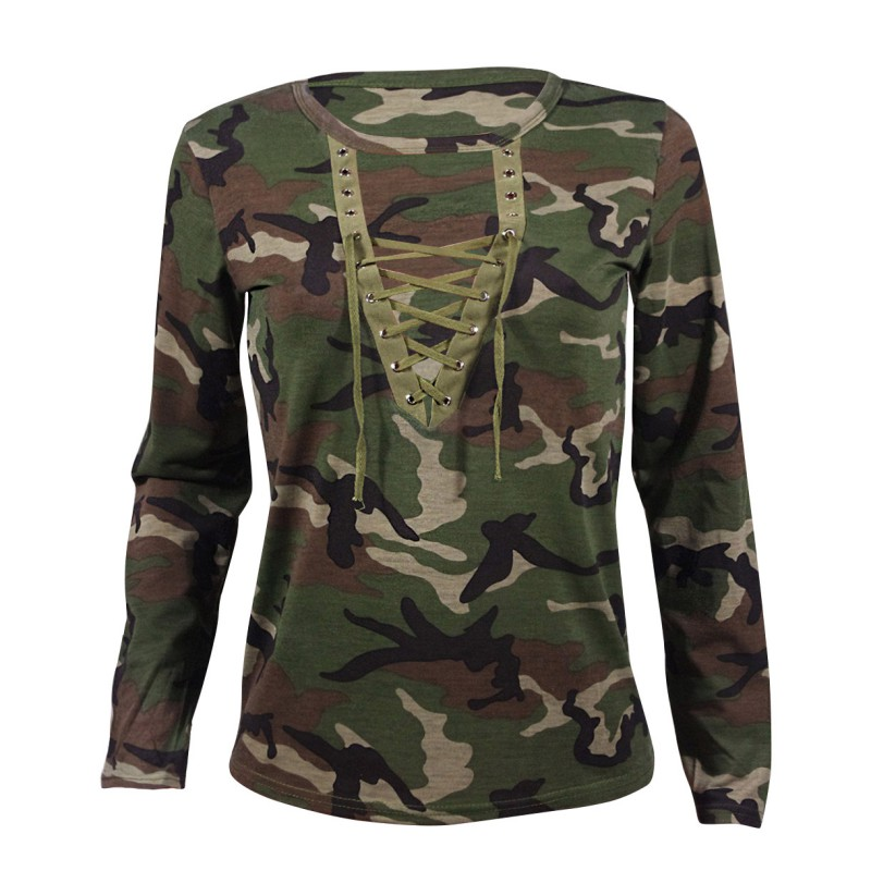 Sexy Womens Tops Lace Up V-neck Long Sleeve Camouflage Casual T-shirt S72 A Great Variety Of Models